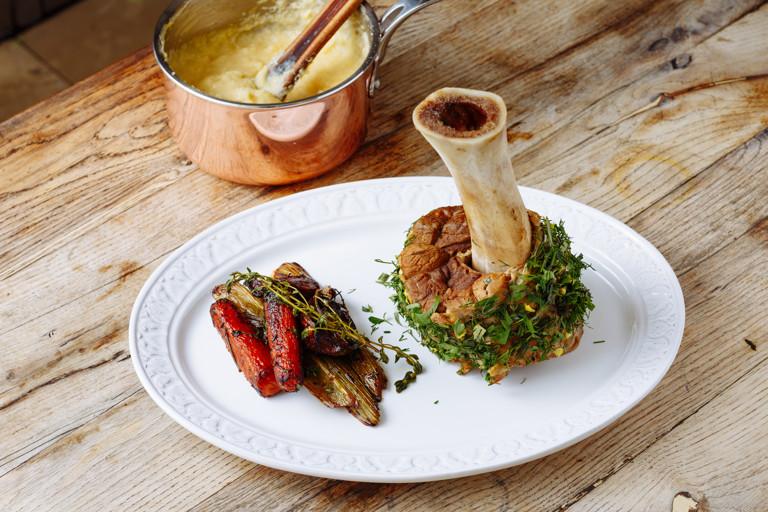 Braised veal shank with polenta