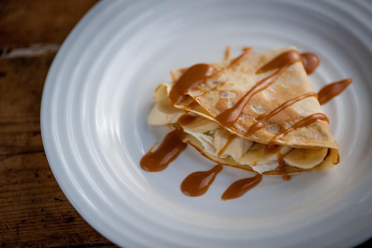 Banana and toffee pancakes