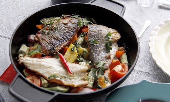 Top with coriander and sprig of thyme. Serve immediately