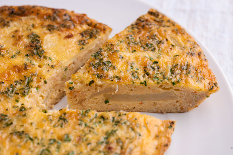 Crab, cheddar and chive omelette
