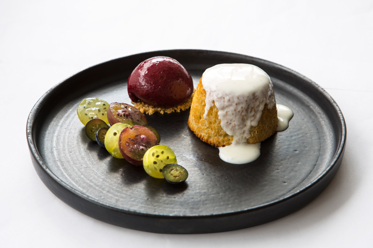 Gooseberry pudding, yoghurt and blueberry