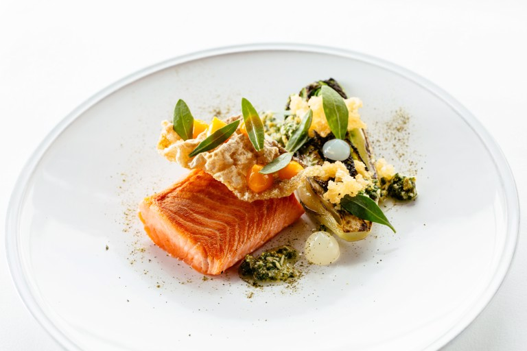 Low and slow trout with tartar dressing, scraps, confit egg yolk and lemon