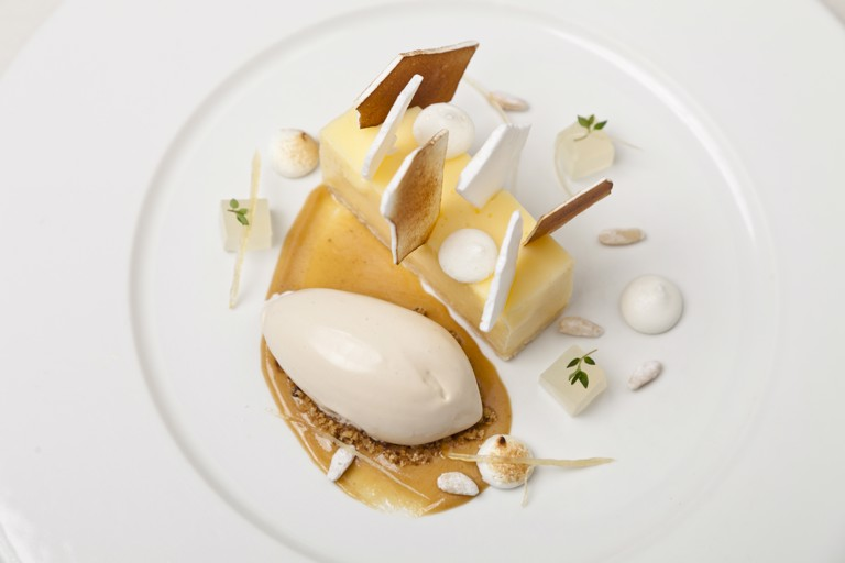 Lemon meringue pie with pine nut ice cream