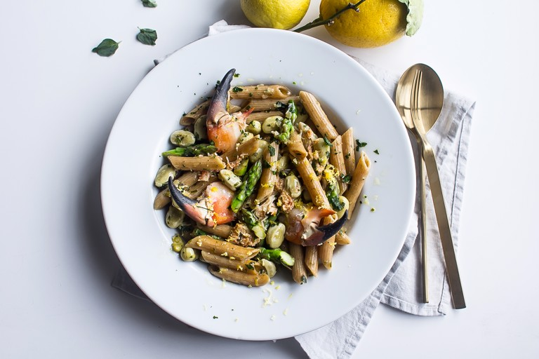 Spring Crab and lemon Penne Rigate