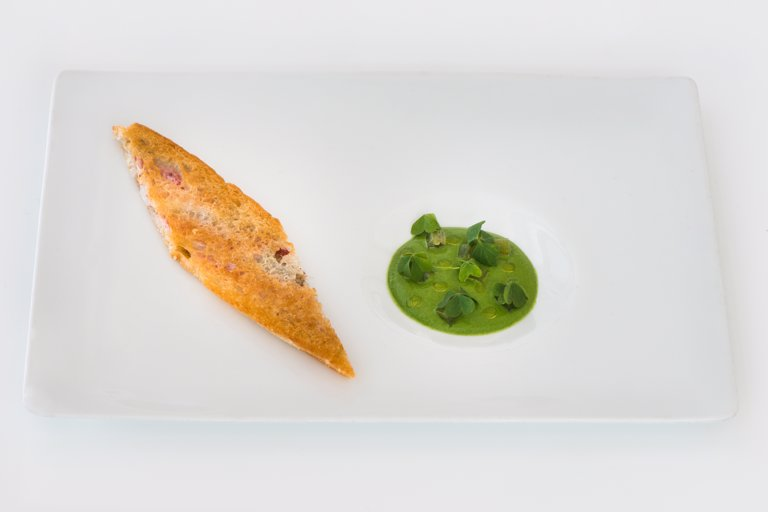 Crunchy mullet with parsley cream, anchovy syrup and candied rhubarb