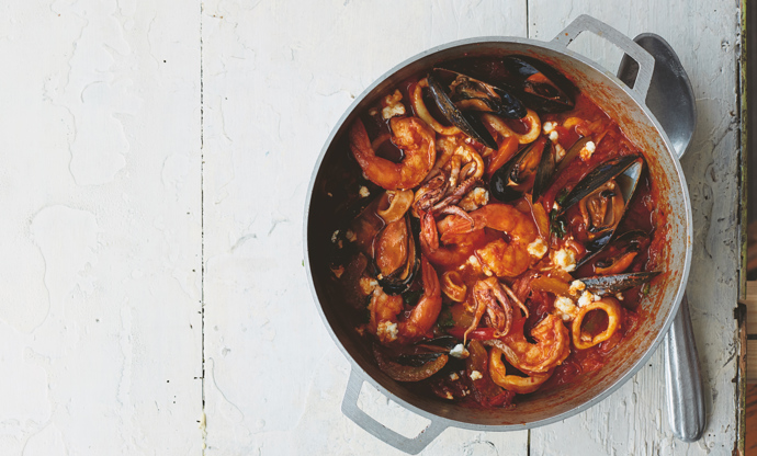 Seafood and tomato tagine