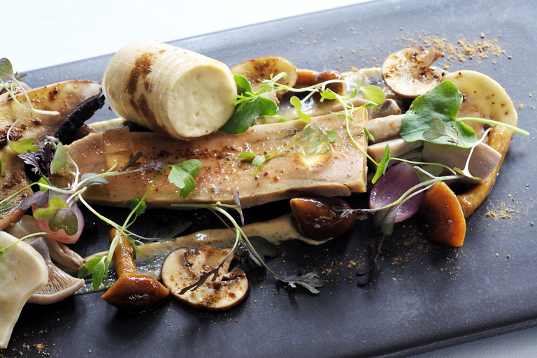 Spiced foie gras with pickled mushrooms and Sauternes jelly