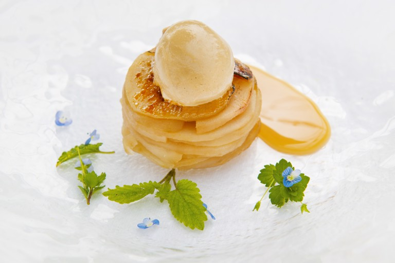 Pear tarte Tatin with liquorice ice cream and lemon brittle