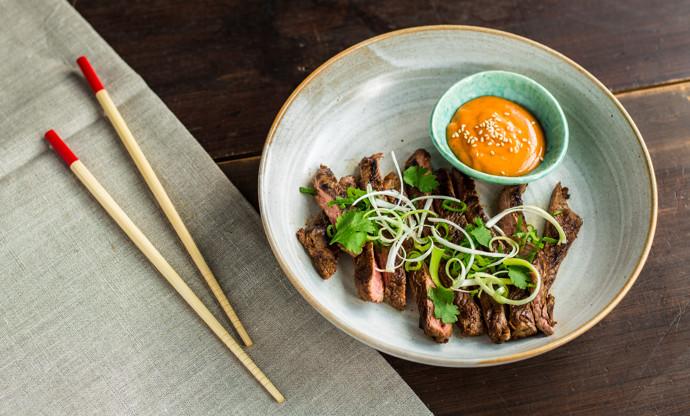 Korean style skirt steak with gochujang mayo