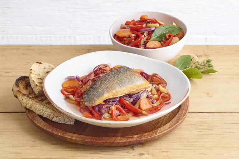 Quick-pickled sea bass escabeche