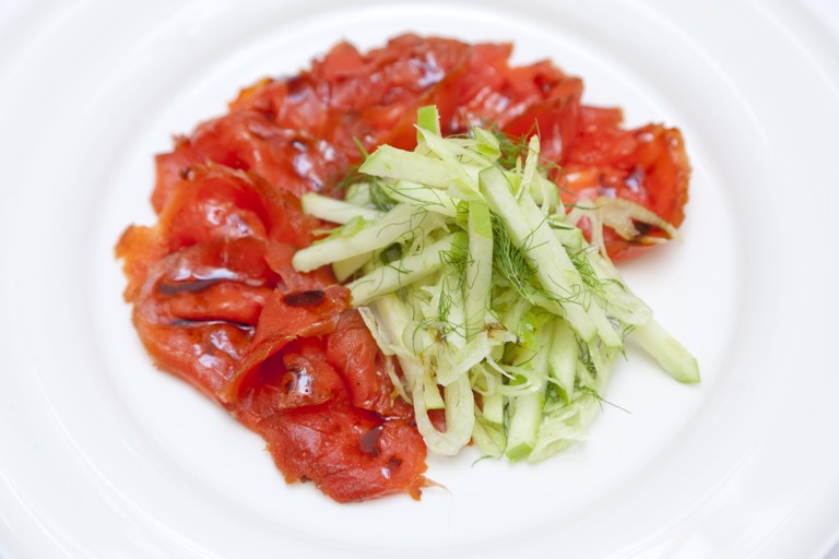 Alaska salmon marinated in treacle and whisky with fennel and apple salad