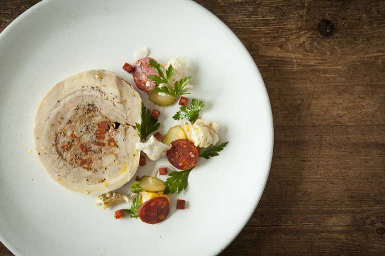 Pork belly and chorizo cassoulet terrine with chorizo mayonnaise and pickles