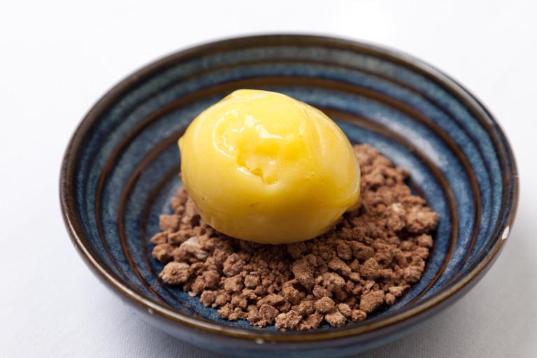 Mango sorbet with marinated paw paw