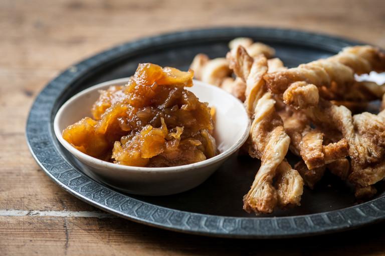 Spiced apple chutney and cinnamon twirls