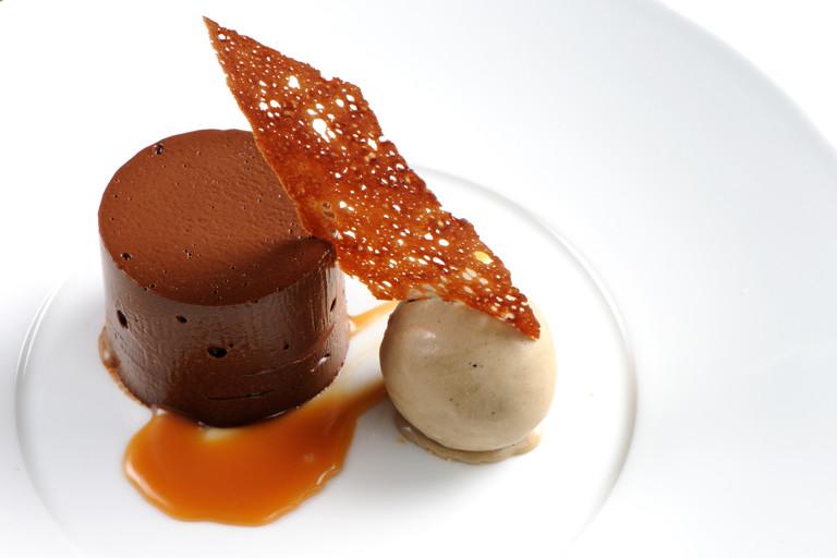 Dark chocolate delice with coffee ice cream
