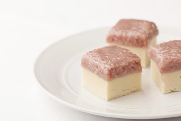 White chocolate and raspberry coconut ice