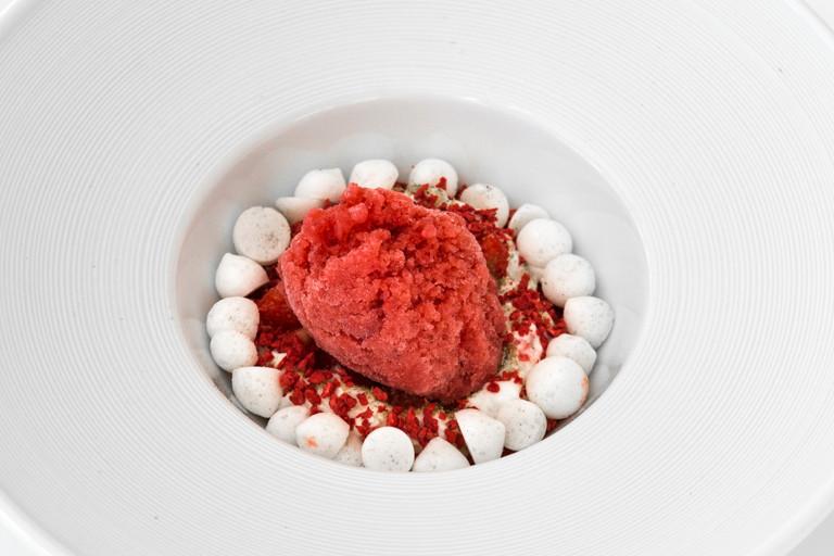 Strawberry graita with lemon cream and lemon cardamom meringues