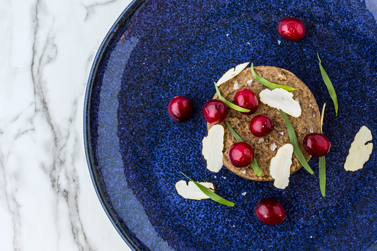 Mushroom and chestnut pate with tarragon and fermented cranberries
