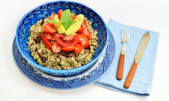Top with tomatoes, mint and avocado