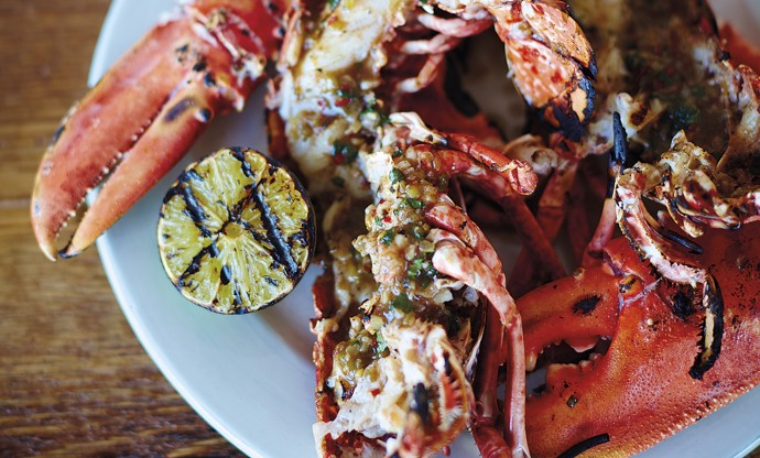 Barbecued jerk lobster with coconut rice