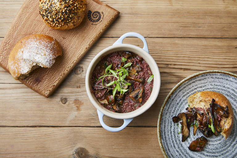 Potted wild mushrooms with tapenade
