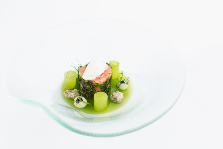 Salmon cannelloni, compressed cucumber, oyster ceviche and oyster mayonnaise