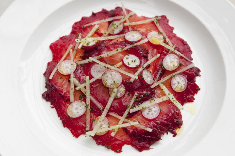 Beetroot-marinated salmon with radish salad