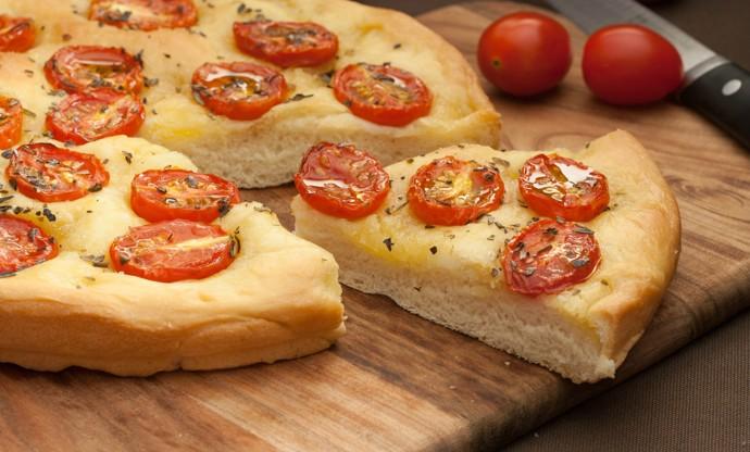 Schiacciata with cherry tomatoes