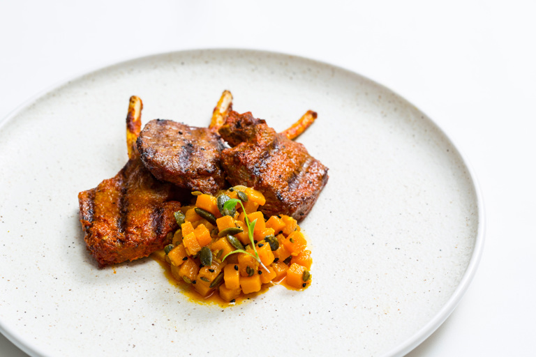 Pudina chops - spiced minted lamb chops with pickled pumpkin