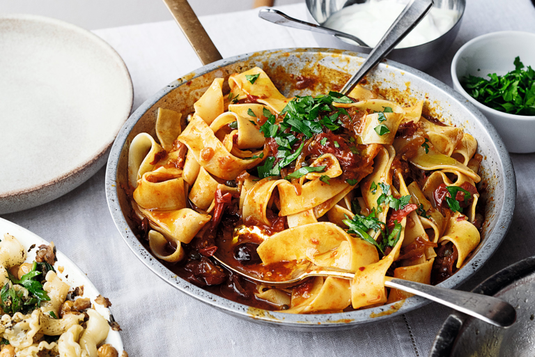 Pappardelle with rose harissa, black olives and capers