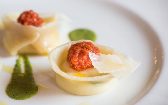 Agnolotti with burrata and mint