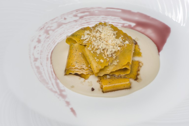 Pappardelle with Tuscan beans, wine reduction and steak extract