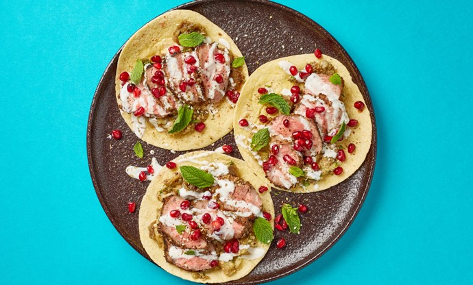 Za'atar spiced lamb neck and baba ganoush tacos