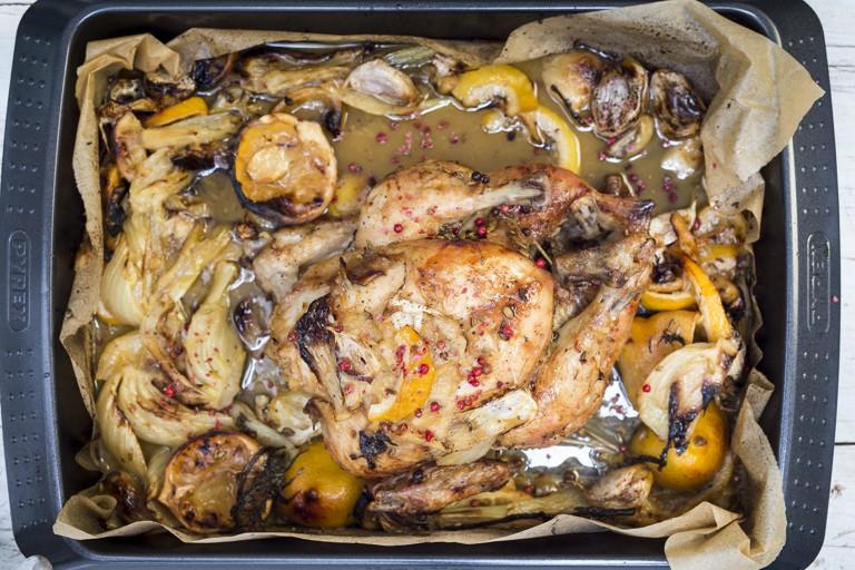 Roast lemon chicken recipe with garlic