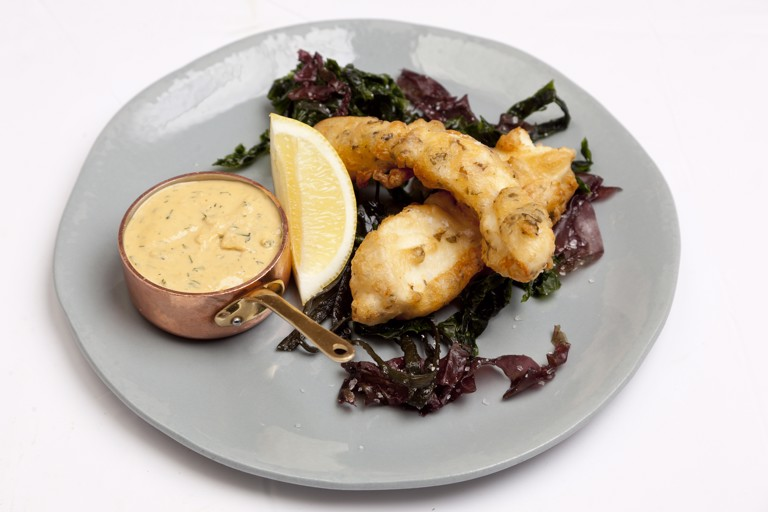 Scarborough woof and seaweed fritters with brown crab mayonnaise
