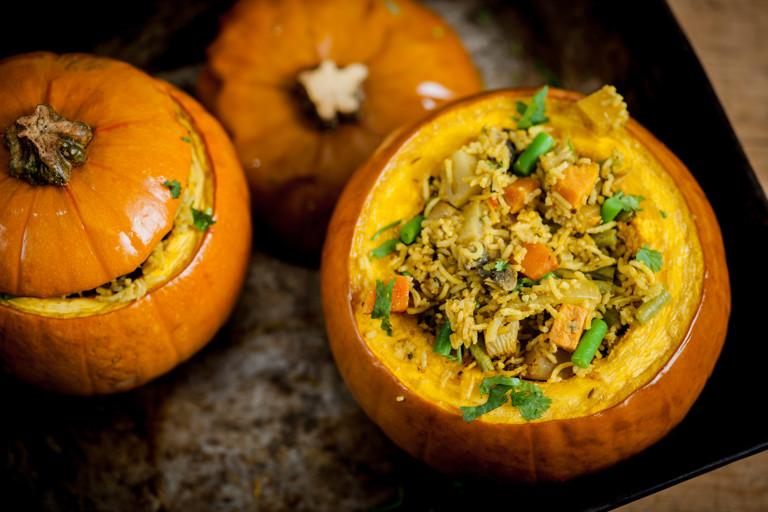 Hyderabadi biryani of vegetables in a pumpkin shell