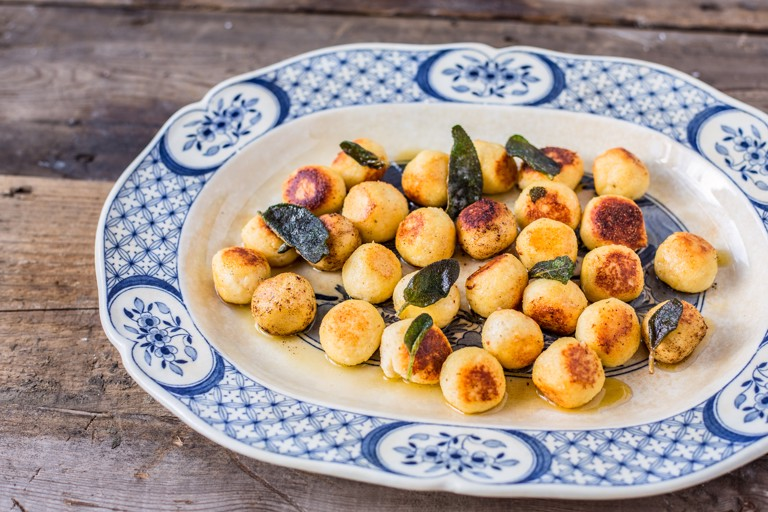Gnudi with sage and brown butter sauce