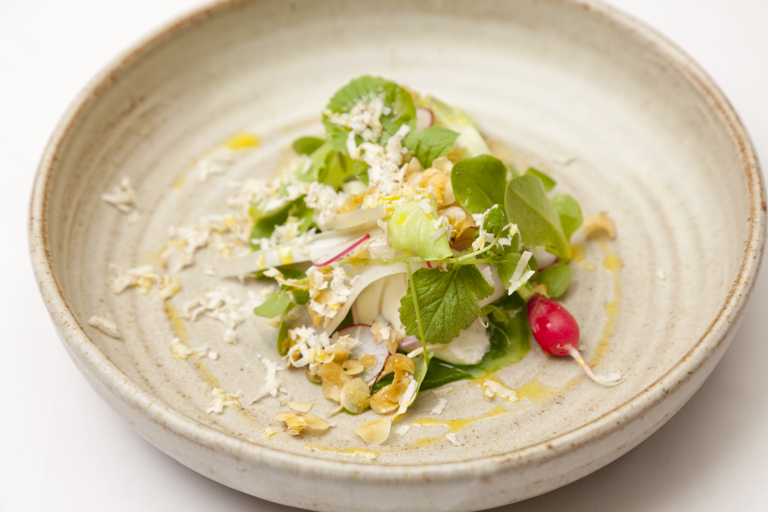 Fresh curds and watercress, pickled kohlrabi, tantan lettuce and cobnuts