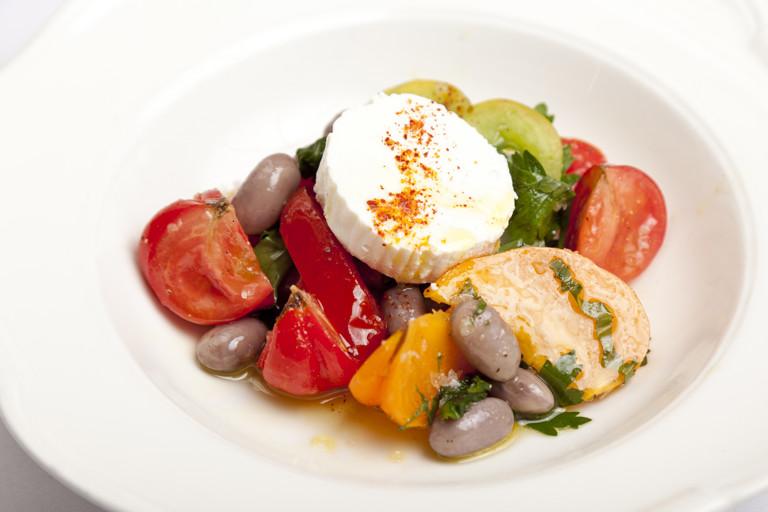 Tomato, borlotti bean and Provençal goat's cheese salad