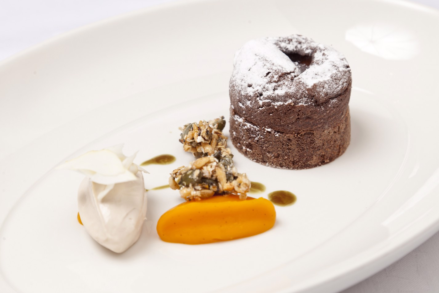 Dark chocolate fondant with chestnut and squash