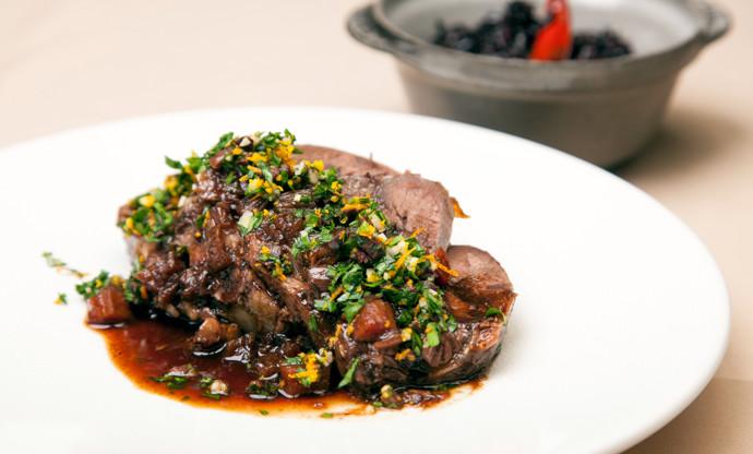 Braised beef shin with gremolata