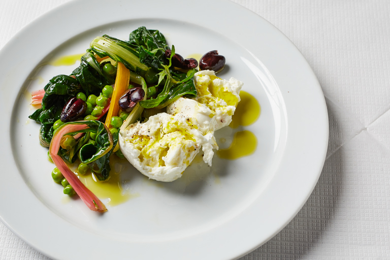 Mozzarella with peas sott'olio, chard and olives