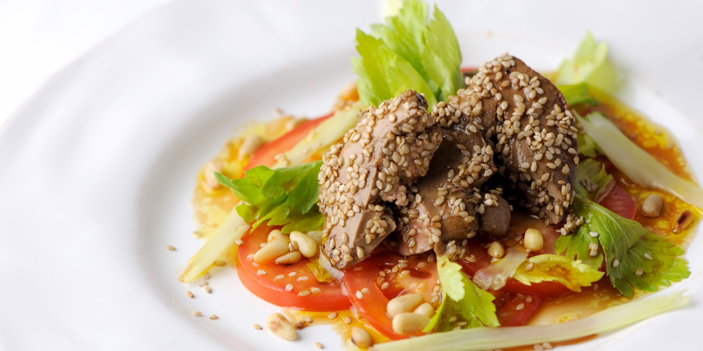 Crispy sesame duck livers with a celery, tomato and pine nut salad