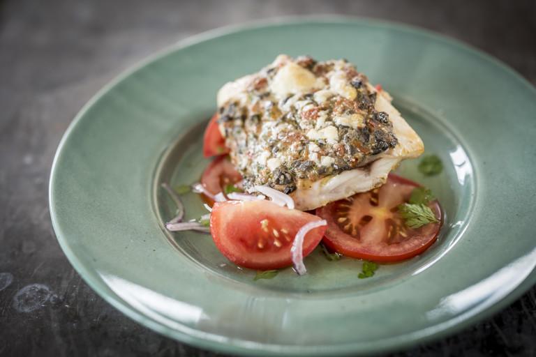 Baked hake in a Mediterranean crust