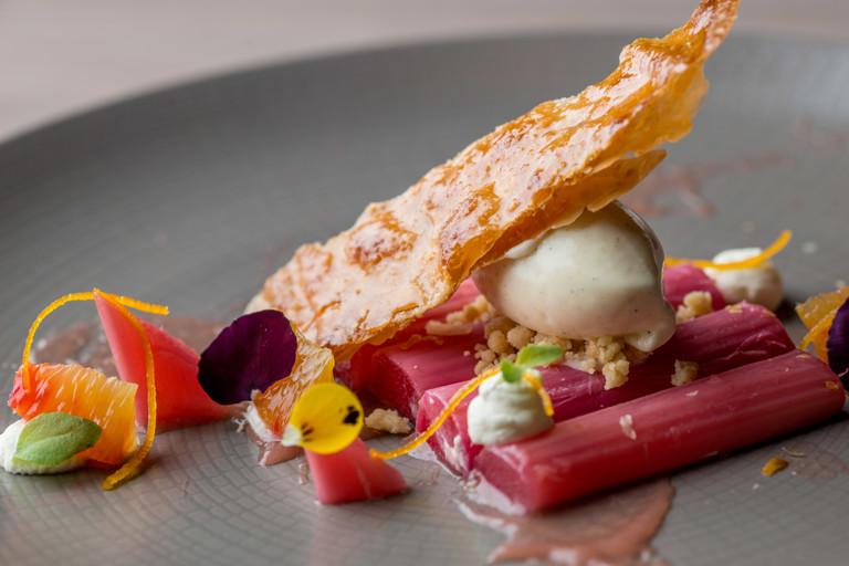 Roasted rhubarb, orange and crystallised puff pastry