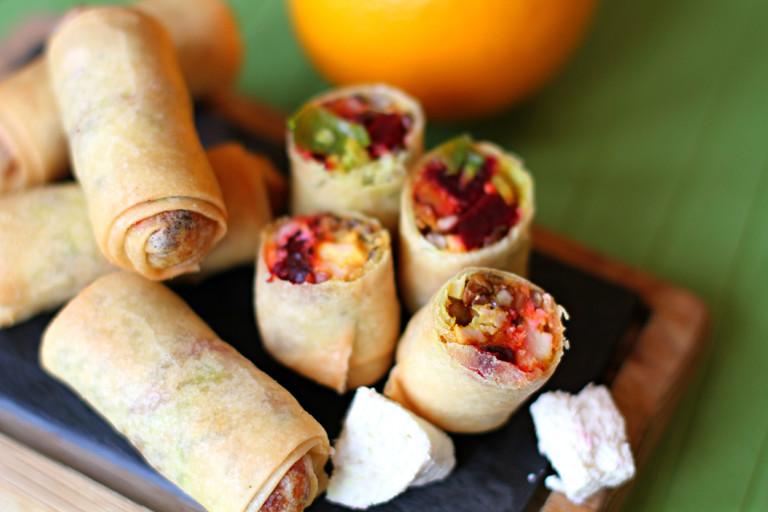 Beetroot, lentil, squash and paneer spring rolls
