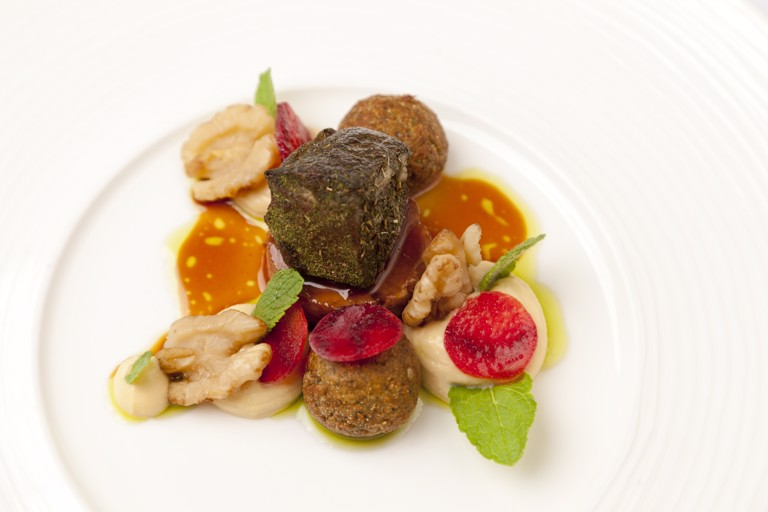 Hogget mezze with falafel, walnuts and mint oil