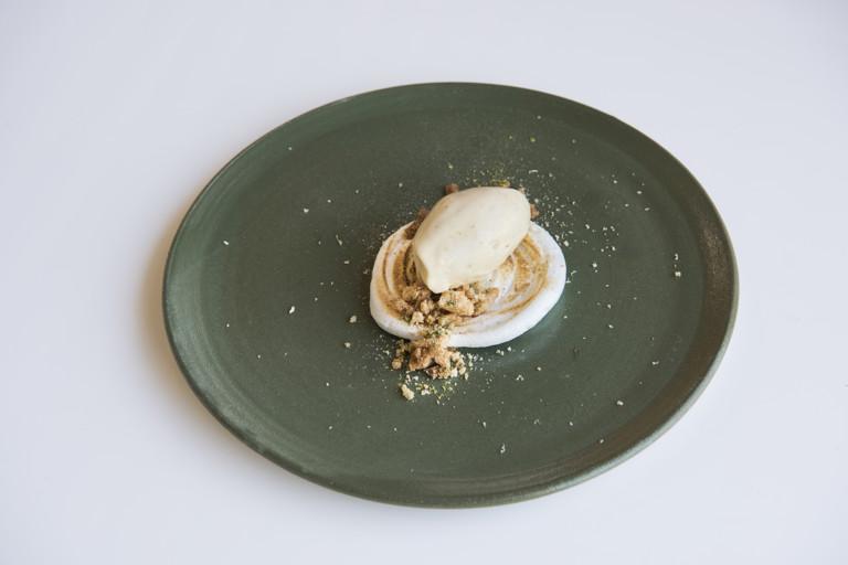 Chamomile ice cream, lemon meringue and almond crumble