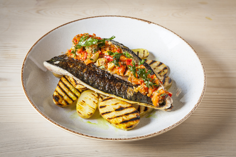Chargrilled potatoes with grilled mackerel and a spiced sweet pepper salsa