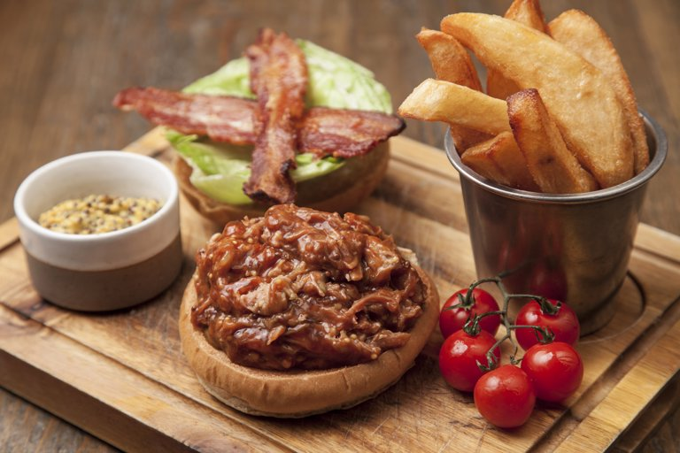 Pulled oxford sandy & black pork with apple and smoked bacon